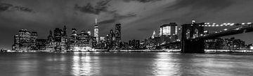 Manhattan Skyline bij nacht zwart-wit van Tessa Louwerens