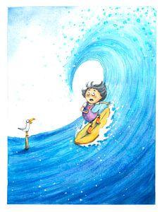 Surfing Girl - Aquarell-Illustration für Kinder