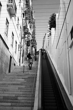 Roltrap in open lucht: Escadinha da saúde Lissabon van Daan Duvillier