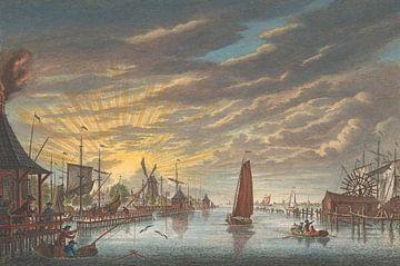 Blick auf den alten Yachthafen von Amsterdam, gesehen in Richtung der Festung Leeuwenburg oder Blauw