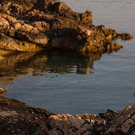 Zonopkomst met meeuw op rots op Hvar, Kroatie van Maike Meuter
