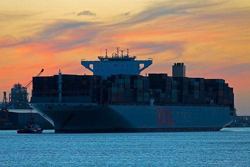 Containerschip te Rotterdam van Anton de Zeeuw