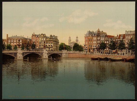 Blauwbrug en Amstel, Amsterdam van Vintage Afbeeldingen
