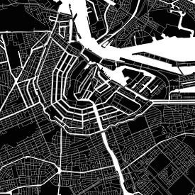 Amsterdam | Plan de la ville moderne en noir et blanc sur Wereldkaarten.Shop