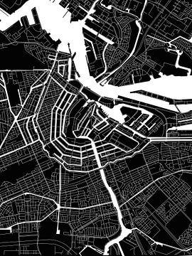 Amsterdam | Plan de la ville moderne en noir et blanc sur - Wereldkaarten.shop -