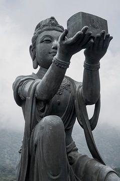 buddha, hong kong, zwart wit van Danielle van Leeuwaarden