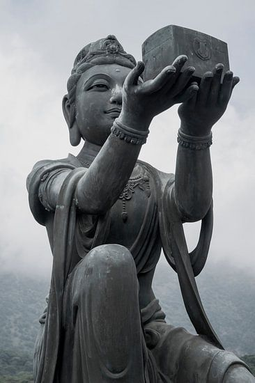 buddha, hong kong, zwart wit