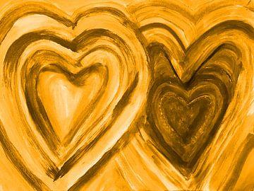 Zwei Herzen vereint - gelb van Katrin Behr