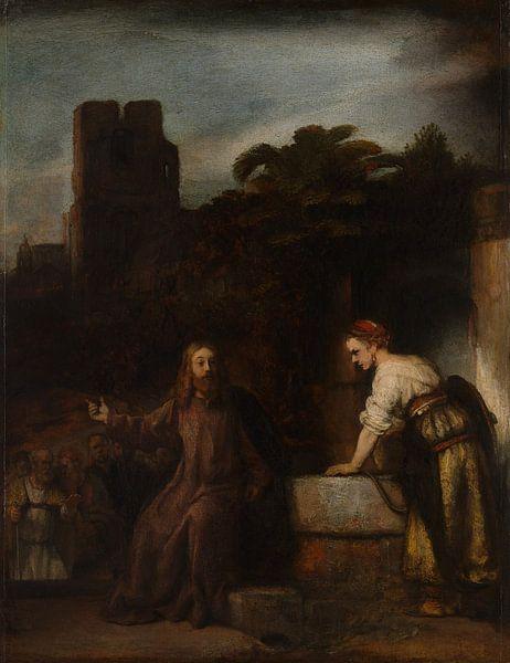Christus en de Vrouw van Samaria, de stijl van Rembrandt van Rembrandt van Rijn