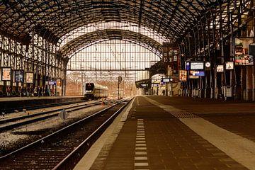 Bahnsteig 3a, Bahnhof Haarlem, Niederlande von Yvon van der Wijk