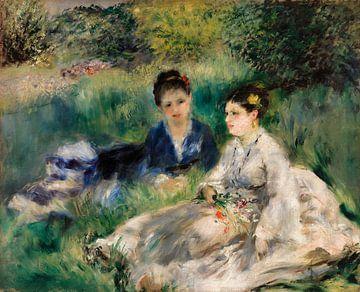Junge Frauen sitzen im Gras, Renoir (1873)