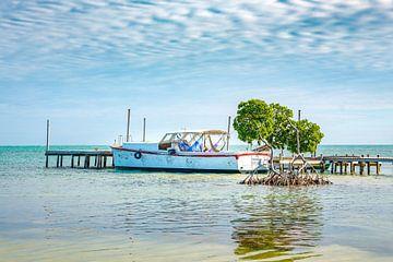 A boat at a pier on Caye Caulker in Belize von Michiel Ton