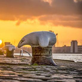 Coucher du soleil Wilhelminapier sur Frans Blok