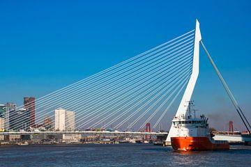 Een vrachtschip en de Erasmusbrug van Rotterdam van Petra Brouwer