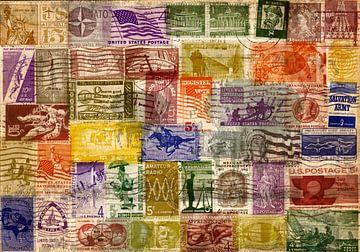 Collage van oude postzegels USA van Rietje Bulthuis