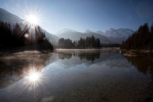 Sonnenaufgang am Isarstausee von