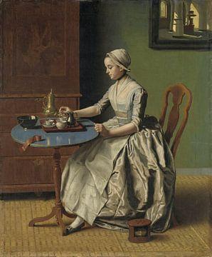 EIne Dame gießt Kakao ein, Jean-Etienne Liotard von Meesterlijcke Meesters