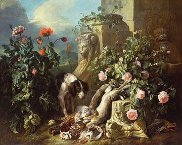 Hunde mit Blumen und totem Wild, Alexandre François Desportes