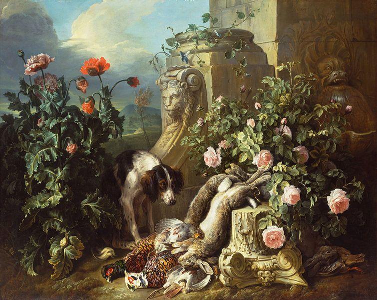 Hunde mit Blumen und totem Wild, Alexandre François Desportes von Meesterlijcke Meesters