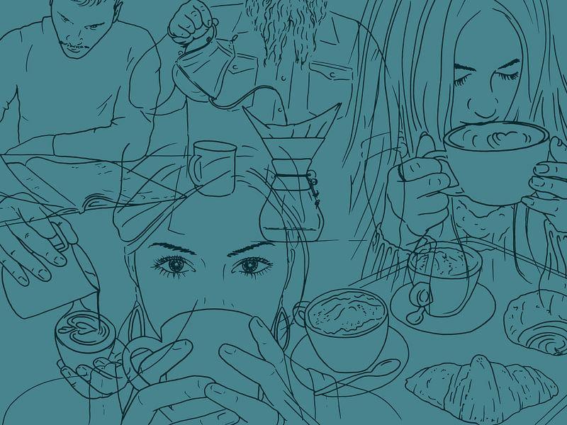 De koffiedrinkers van Natalie Bruns