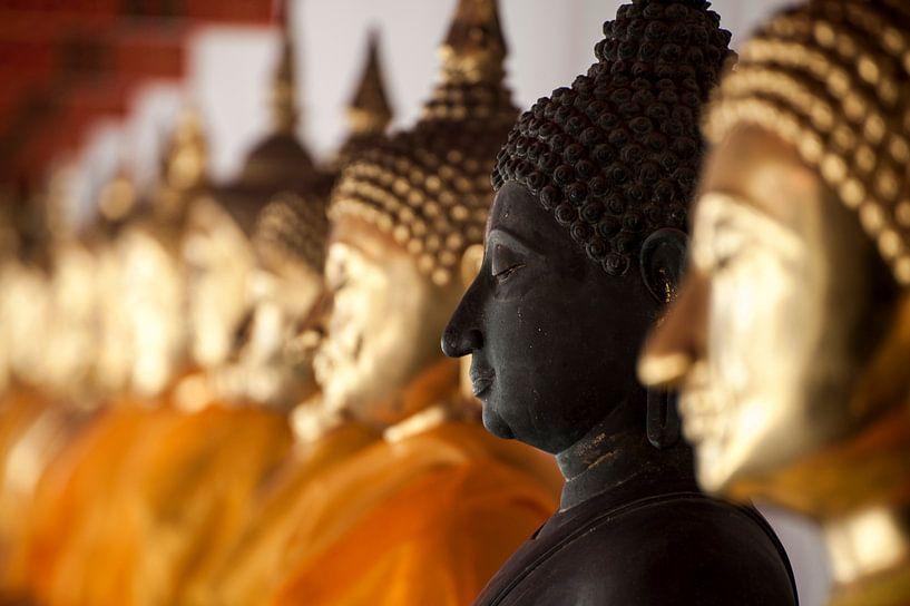 Buddha beelden op een rij van Sebastiaan Hamming