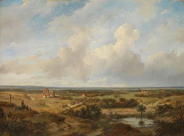 Vue des dunes avec les ruines du château de Brederode près de Santpoort, Andreas Schelfhout sur