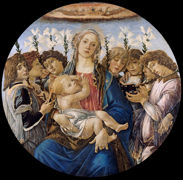 Sandro Botticelli - Mary with the Child and Singing Angels van 1000 Schilderijen