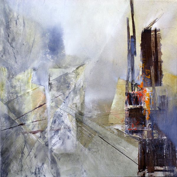 Abstrakte Komposition in weiss von Annette Schmucker