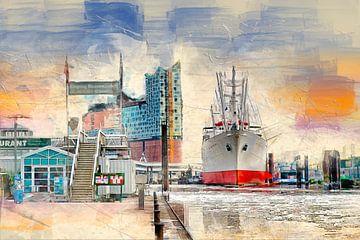 Hamburg Elbphilharmonie und Museumsschiff Cap San Diego von Peter Roder