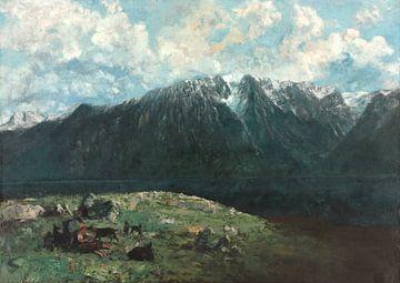 Panoramisch uitzicht op de Alpen, Les Dents du Midi, Gustave Courbet