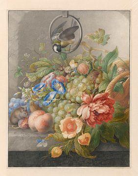 Stilleven met bloemen, vruchten, een koolmees en een muis, Herman Henstenburgh