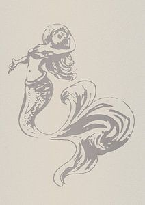 Scherenschnittmuster einer Meerjungfrau