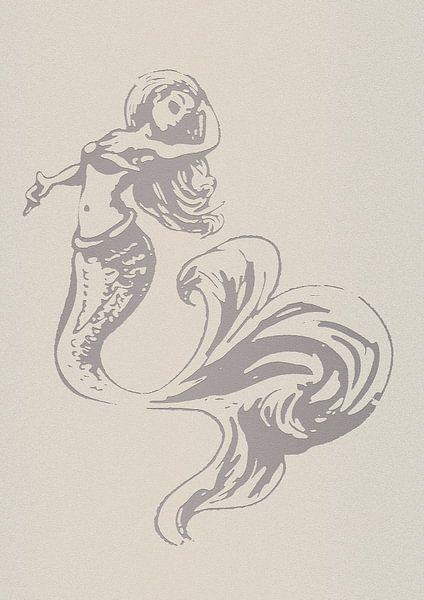 Scherenschnittmuster einer Meerjungfrau von Emiel de Lange