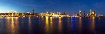 Panorama de Hambourg - Skyline à l'heure bleue