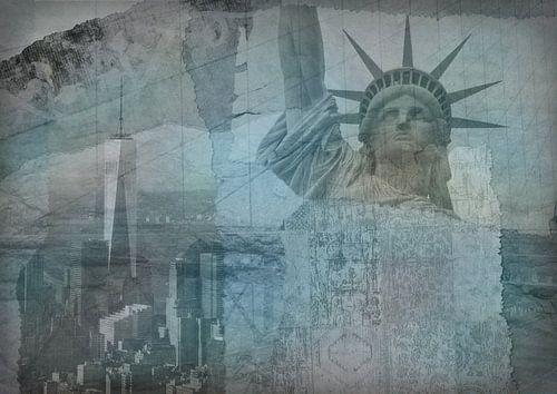 New York city Collage, bleu (pour les autres couleurs, voir les collages de l'album)