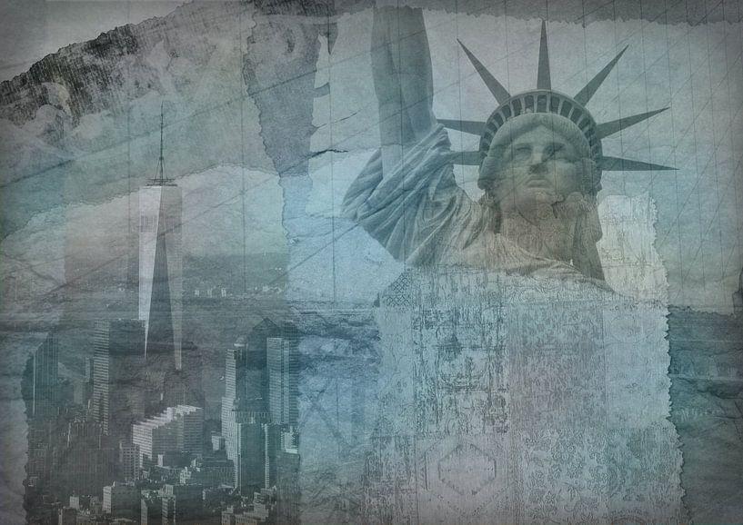 New York city Collage, blue (voor andere kleuren zie album collages) van Anita Meis