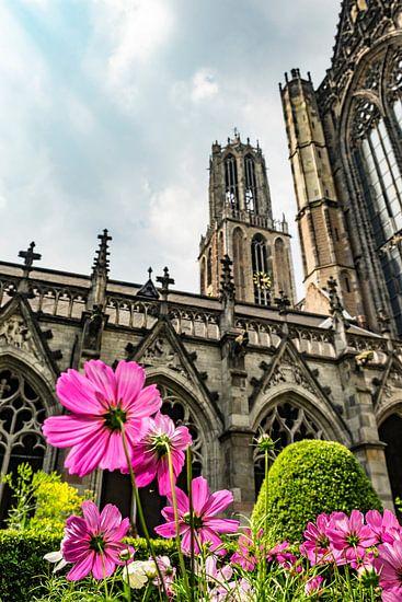 Domtoren en Domkerk in Utrecht met bloemen in het Pandhof in de voorgrond van Sjoerd van der Wal