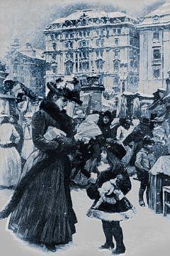 Antieke prent uit de 19e eeuw, winter van Ina Hölzel
