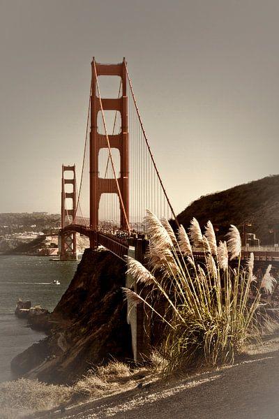 Golden Gate Bridge | Vintage van Melanie Viola