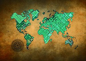 Weltkarte Kunst grün und braun #Karte #Weltkarte