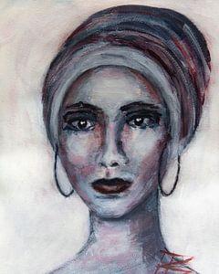 Porträt schöne Frau mit Kopftuch abstrakt von Bianca ter Riet