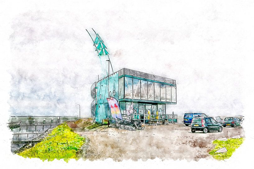 Strandrestaurant De Punt in Vlissingen (Aquarell) von Art by Jeronimo