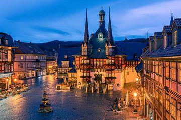 Das berühmte Rathaus in Wernigerode, Harz, Sachsen-Anhalt, Deutschland