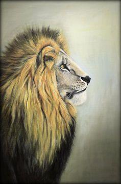 Leeuw...majestic.. ( Olieverfschilderij) van Els Fonteine
