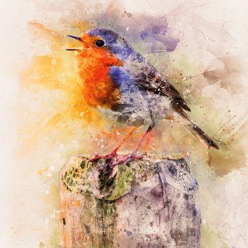 Kleurrijk roodborstje (kunst) van Art by Jeronimo