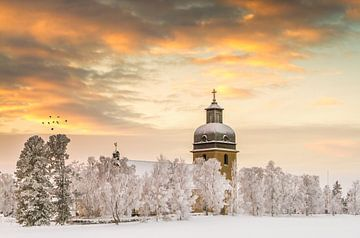 Kerk van Rödön in Zweden van Hamperium Photography