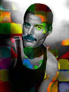 Freddie Mercury Abstract Portret in Geel, Groen, Oranje, Blauw