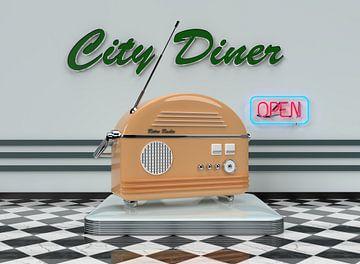 Retro Radio Oranje met neon sign van shoott photography