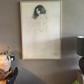 Klantfoto: Portret van een jonge vrouw - Gustav Klimt, op canvas