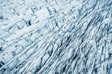 Abstracte luchtfoto van een gletsjer in Skaftafell, IJsland van